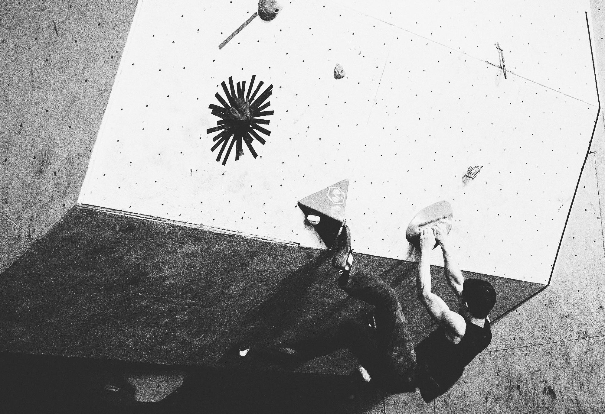 Climber Seb Lazure at a recent TdB Competition Climbing Men's Open Finals - Coyote Rock Gym